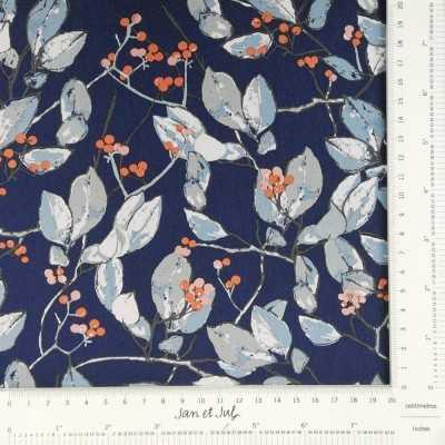 Tela de algodón con ramas y flores