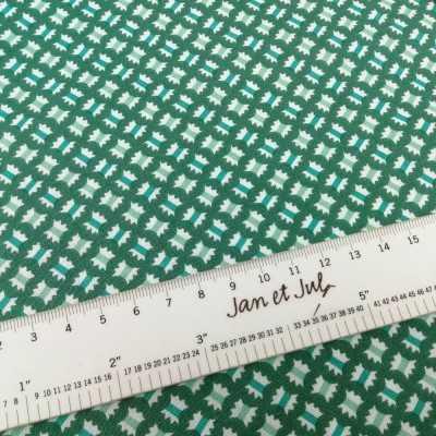 Tela de algodón americano verde con dibujos mini