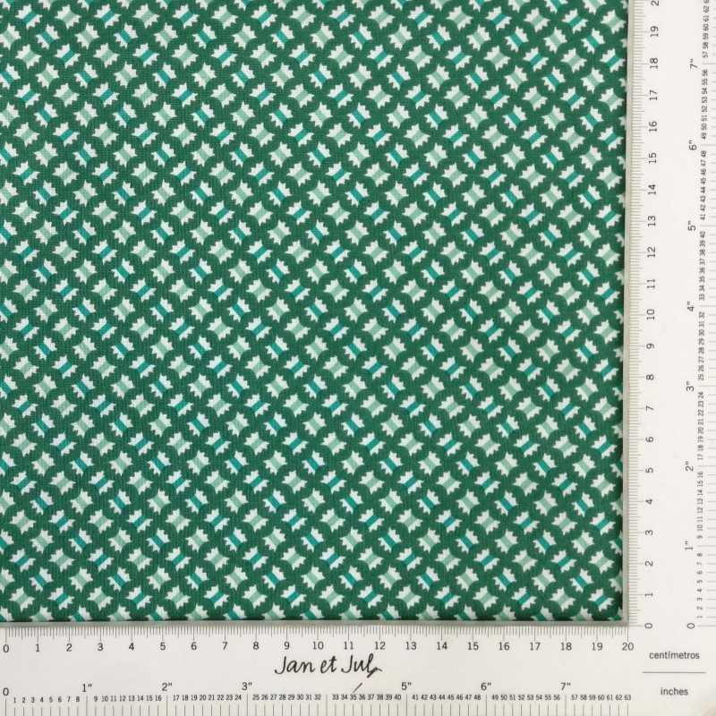 Tela de algodón verde con dibujos mini