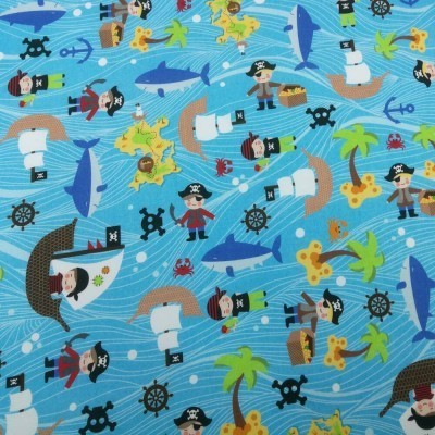 Tela de piratas azul diseñada por Jan et Jul