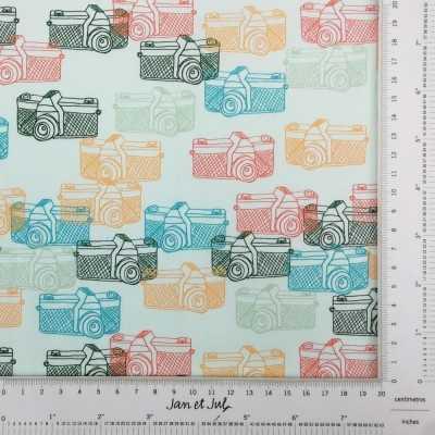 Tela de algodón con cámaras de fotos multicolor