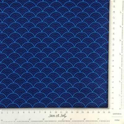 Tela de algodón americano azul oscuro con dibujo de estilo japonés