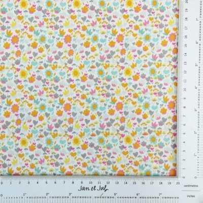 Tela de algodón americano con dibujos de flores mini