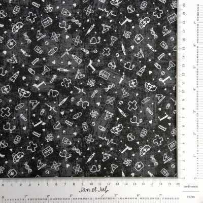 Tela negra de algodón 100% con elementos sanitarios