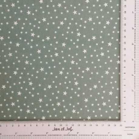 Tela verde gris con estrellas en blanco