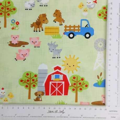 Tela de algodón americano con dibujos de animales de granja