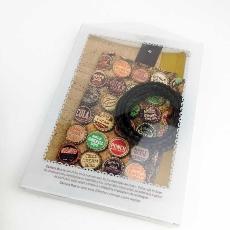 kit de bolso pequeño con asa trenzada y base de corcho en marrones y tonos mostaza