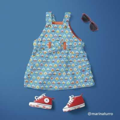 Vestido infantil con tela de aliens de Jan et Jul