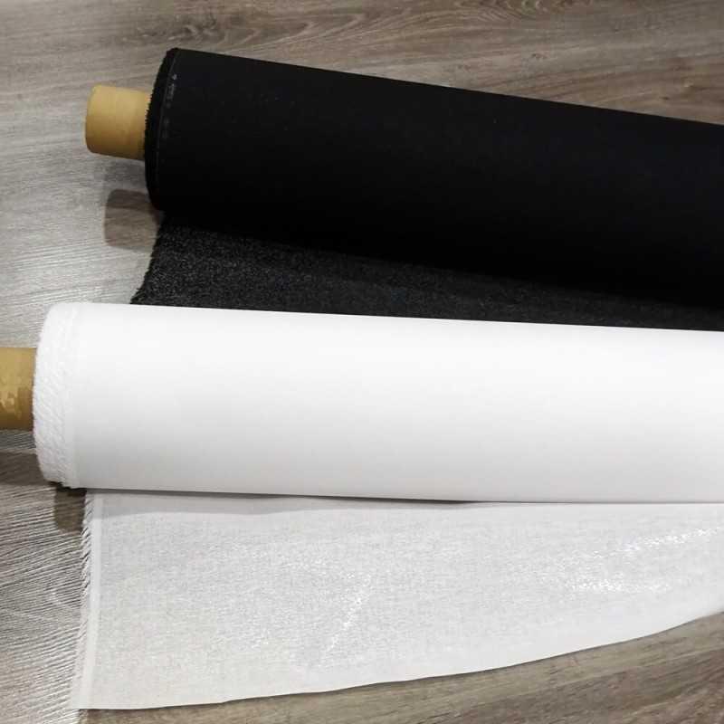 Entretela rígida adhesiva de 1 cara en blanco y negro
