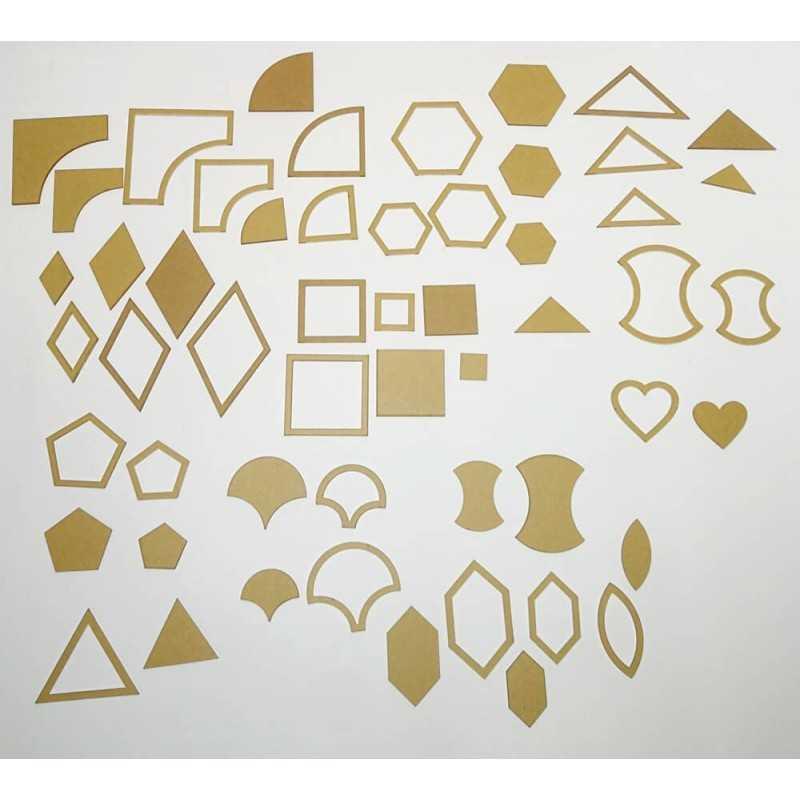 54 plantillas de metacrilato para patchwork de diferentes medidas