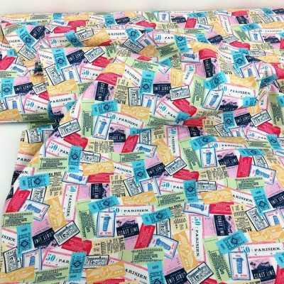 Tela de algodón de fondo blanco con dibujos de sellos de paises