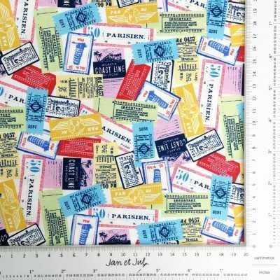 Tela de algodón americano de fondo blanco con dibujos de sellos de paises