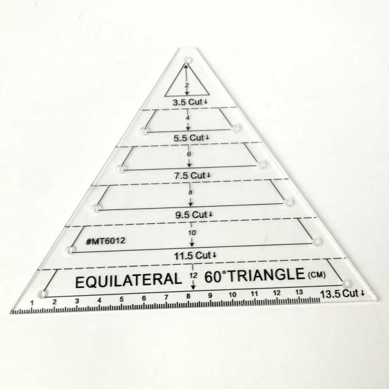 Regla triangulo equilatero Regla triángular para patchwork y costura creativa de 13,5 cm. Permite realizar diferentes tamaños. L