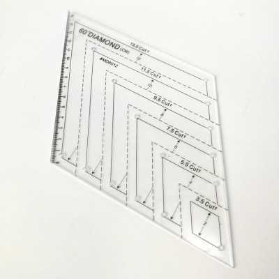 Regla acrílica transparente con forma de diamante de 60 grados