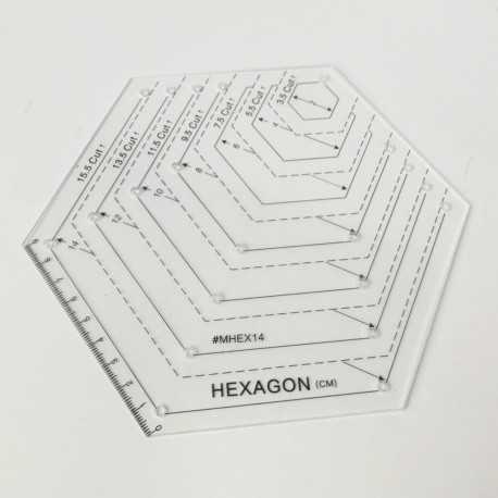 Regla acrílica transparente con forma de hexágono de 9 cm máximo
