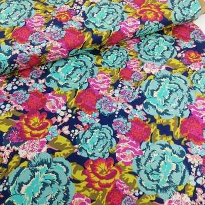 Tela de algodón con flores grandes de colores