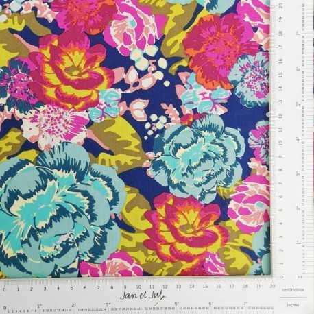 Tela de algodón con flores de colores grandes