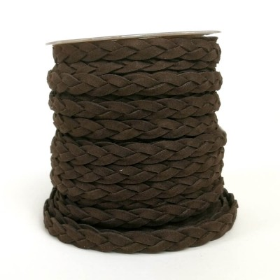 Asa trenzada de polyester (imitación ante) en marrón chocolate