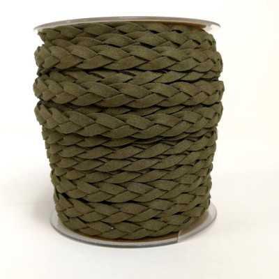 Asa trenzada de polyester (imitación ante) en verde militar