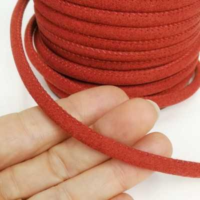 Cinta cordón para asa, imitación ante en colores. color rojo coral