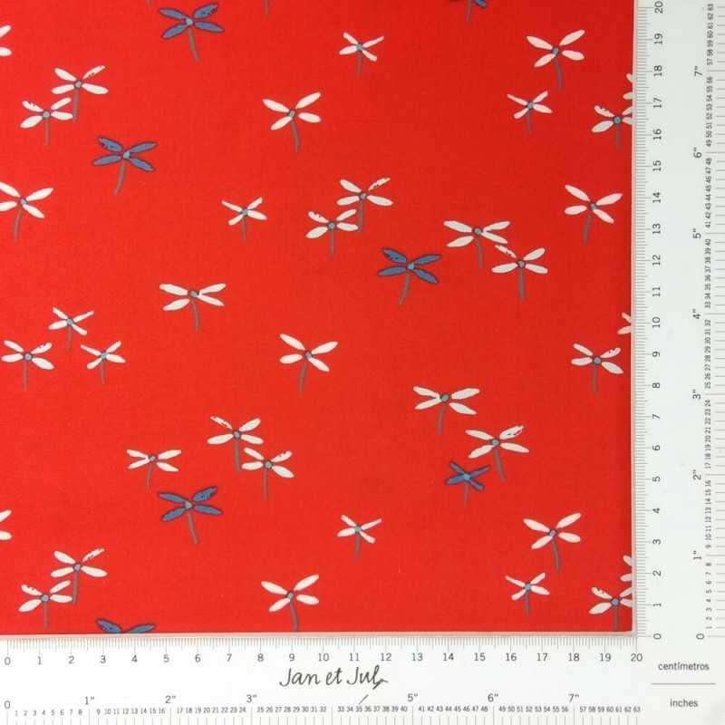 Tela de algodón roja con dibujos mini en tonos azul