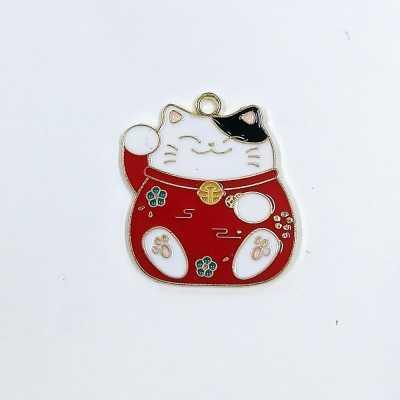 Gato japonés en color rojo, ideal para colgante, pulsera, tirador de cremallera,...