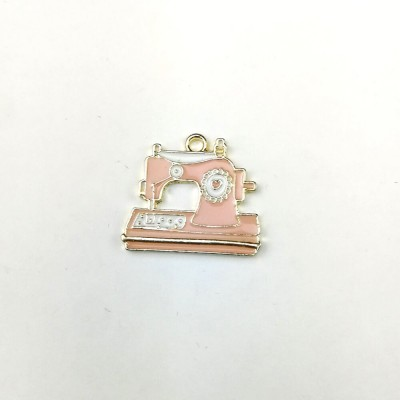 Colgante o tirador de cremallera con forma de máquina de coser en rosa