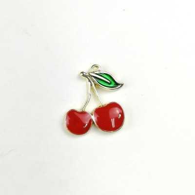 Charm con forma de cerezas rojas