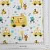 Tela de algodón blanca con dibujos de animales para la vuelta al cole