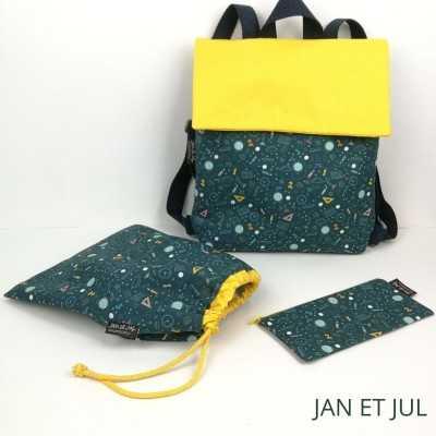 Mochila, bolsa de merienda y estuche de Jan et Jul con tela especial para la vuelta al cole